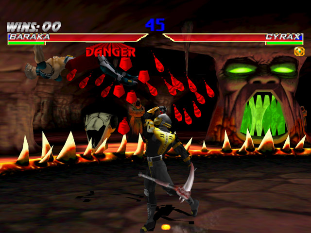 Cyrax uppercutting Baraka in the Soul Chamber
