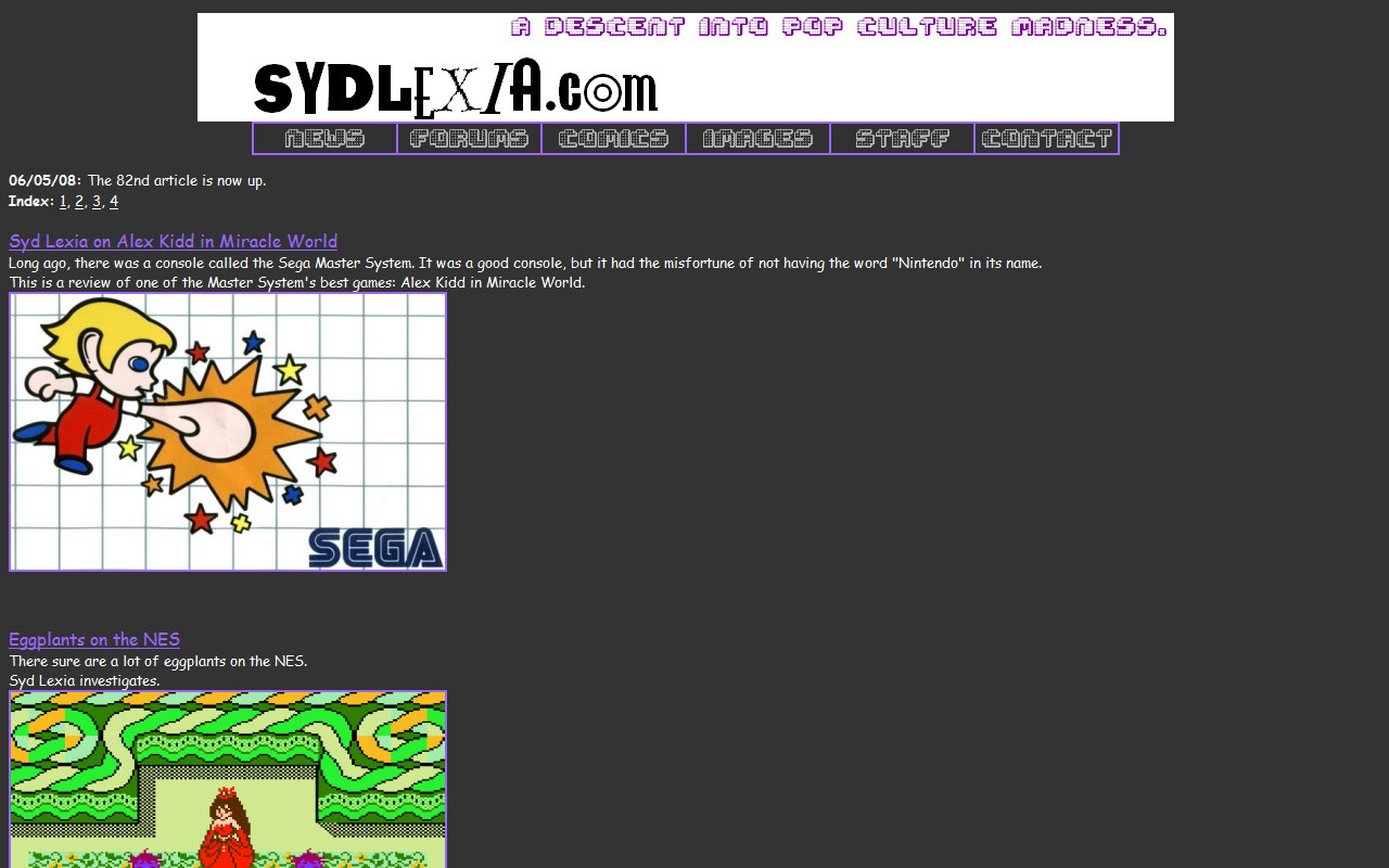 The SydLexia.com main page in June 2008.